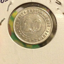 1895 QV Straits Settlements 10 cents Silver  coin Extra nice details!