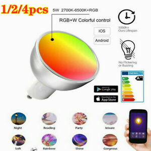 1/4PACKs GU10 Smart Bulb App Remote Control RGB 5W WiFi Light For Alexa Google√❤