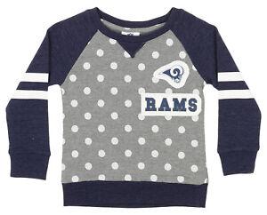 Outerstuff NFL Little Girls Los Angeles Rams Logo Polka Dot Long Sleeve Crew