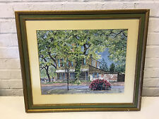 Vintage Signed Holland Watercolor Painting of Landscape w/ House