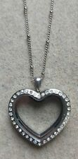 Heart Locket Pendant Necklace ,large With Diamantes