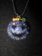 BETSEY JOHNSON RARE PURPLE BLING PUMPKIN LONG NECKLACE WITH BOO AND PINK STONE