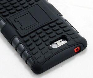 For Nokia Lumia 820 Black Strong Tough Rugged Tradesman Tough Case Cover Stand