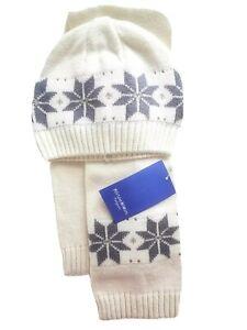 Kinder Winter Schal und Mütze Gr. 2 cremeweiß grau Baumwolle von Klitzeklein