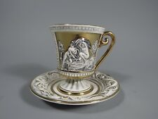 R Capodimonte Italy high relief Classical Figures & gilt Cup and Saucer