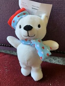 White Teddy Bear w/Santa Hat Lovey 18 cm - For All Ages - Plush Toy