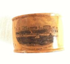 Antique Mauchline ware treen napkin ring Dovercourt From The Sea