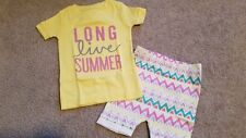 New Girls Old Navy Infant Yellow Long Live Summer Short Pajamas Size 12-18 Month
