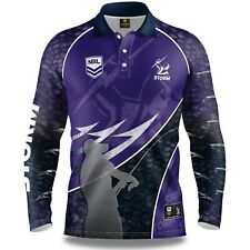 NRL 2020 Long Sleeve Fishing Polo Tee Shirt - Melbourne Storm - Adult Youth