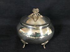 830er Silber Zuckerdose Deckel-Dose Hammerschlagdekor E. Hermann Silver bowl box