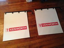 """PAIR OF KENWORTH Semi Truck Mud Flaps 24"""" x 30"""" White Poly with hangers"""