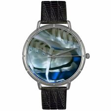 NEW Whimsical Watches T0840026 Unisex Ice Skating Lover Black Strap Silver Watch