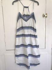 H&M Cotton Stappy Summer Dress Blue & White Stripes Size 10