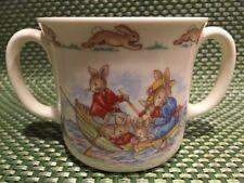 Rare Royal Doulton England Bunnykins Rowboating In Ocean Childs 2 Handle Mug Cup