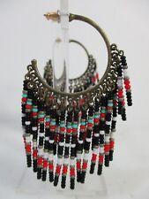 Lee Angel Bead Seed Yasmine Black Hoop Statement Earrings NIP $145