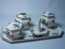 Vintage 5 Piece DRESSING TABLE SET Wedgwood & Co Imperial Porcelain Floral Rose