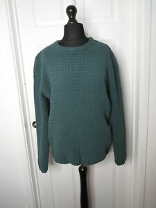 River Island Size Medium Green Waffle Knit Jumper Sweater Green Crew Neck Soft