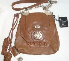 Hayden Harnett Brown Leather Cross Body Bag w/Multiple Compartments NEW