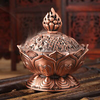 Chinese Lotus Incense Burner Holder Flower Statue Censer Home Room Decoration