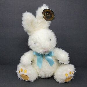 "FAO Schwarz Plush Stuffed Animal 12"" Easter Bunny Rabbit White Fuzzy Blue Ribbon"