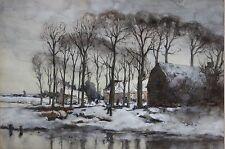 JAN WIJSMULLER-Dutch Impressionist- Original Signed WC/Gouache-Winter Landscape