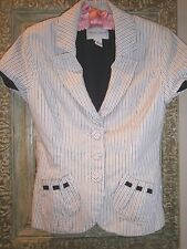 """WHITE HOUSE BLACK MARKET Cap Sleeve JACKET Top~Size 0~Striped~Fitted~Bust 32"""""""