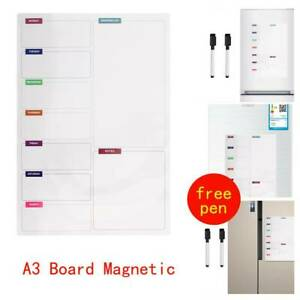Fridge Notice A3 Board Magnetic Memo Weekly Family Meal Planner Whiteboard UK