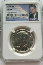 1964 P NGC MS 64 90% SILVER KENNEDY HALF DOLLAR 1ST YEAR OF ISSUE JFK SIG LABEL