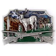 Vintage Deer Hunting Belt Buckle Western Cowboy Native American (DER-02)