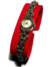 Vintage Swiss TISSOT Silver Marcasite Watch Mechanical Hand Wind Working