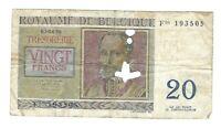 BILLET BELGE 20 francs le 03-04-1956 signature B portrait R.de lassus (20181)