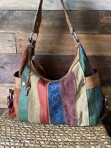 Vintage Fossil Multi-color Suede Handbag