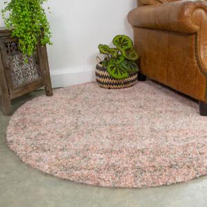 Thick Soft Blush Pink Grey Circle Shaggy Rug Round Dining Room Mat Dense Carpet