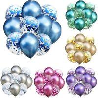 "10Pcs/Set Wedding Birthday Balloons 12"" Latex Confetti Foil Ballons Baby Party"