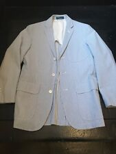 POLO Ralph Lauren SEERSUCKER Sport Coat Jacket Unstructured Blazer Sz 40 R