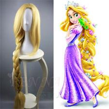Tangled Princess Rapunzel Cosplay Wig Adult Women Long Braids Blonde Hair 120cm