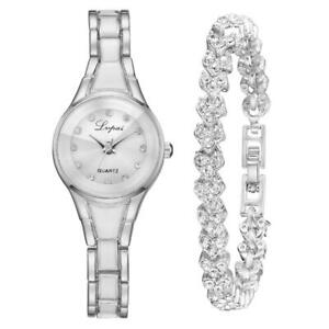 watch & bracelet fashion wristwatch sets for women ladies girls rose gift / box