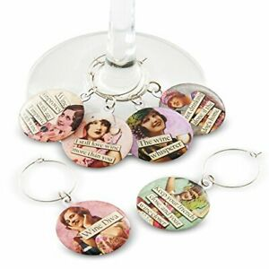 Savvy Design Store Funny Vintage Women Wine Glass Charms - Set of 6 Wine Glas...