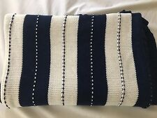 Tommy Hilfiger Knit Throw Blanket Navy&White  100% Cotton