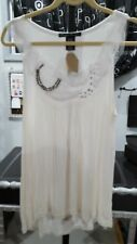 NWT SIMPLY IRRESISTIBLE WHITE RIBBON ROSE JEWELED NECK HIGH LOW HEMLINE TUNIC L