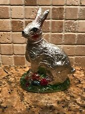 New Silver Foiled Faux Chocolate Easter Bunny New Spring/Easter Decor Basket Egg