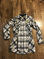 Coogi Womens Shirt Dress Black Plaid Gold Buttons metallic XL