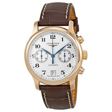 Longines Master Collection Silver Dial 18kt Rose Gold Brown Leather Mens Watch