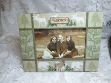 NEW IN BOX PHOTO FRAME WITH MOOSE PINE VACATION FRAME FITS 4 X 6 PICTURE