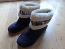Isotoner Woodland Suede Faux Fur Bootie Slippers sz L 9.5-10 Memory Foam Blue