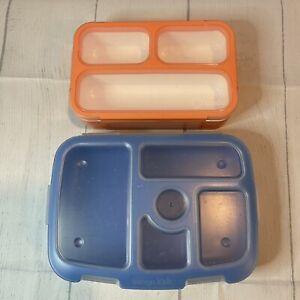 lot of 2 bento boxes lunch Box Blue Bentgo Kids Kinsho Orange Small