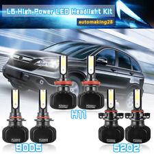 H11 9005 LED Headlight +5202 Fog Light for 2007-2013 GMC Sierra 1500 2500 3500