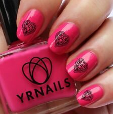Nail WRAPS Nail Art Water Transfers Decals - Lacey Heart - S169