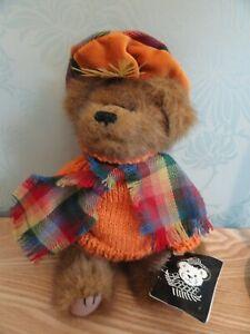 Ronnie Hek Teddy Bear Scarf & Hat  Braveheart Scottish Tartan vintage plush toy