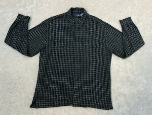 Wilke Rodriguez Men's Vintage Plaid Flannel Button Down Shirt   Large